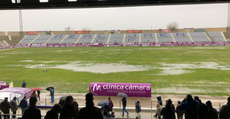 Estado del Estadio de la Victoria después del temporal.