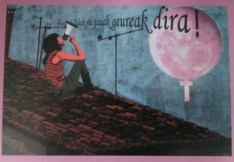Una de las postales integradas en la acción del 15º aniversario de la Casa de la Mujer de Ermua