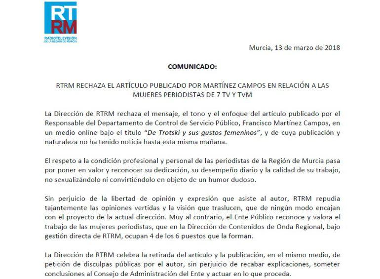 Este es el comunicado, íntegro, del Consejo de RTRM