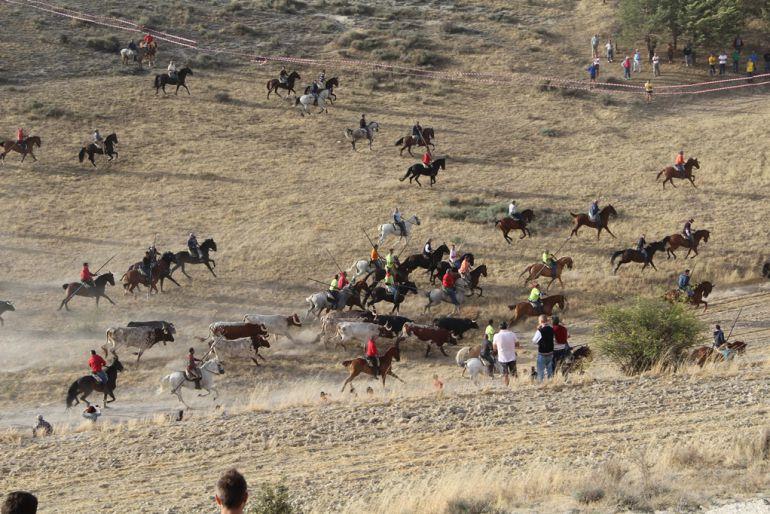 Los caballistas acompañan al ganado en la bajada por El Embudo en el encierro del domingo 27 de agosto de 2017