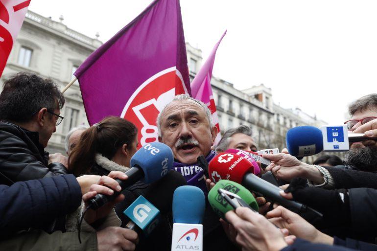 El secretario general de UGT, Pepe Álvarez,  durante su participación en la concentración convocada por los sindicatosel pasado 8 de marzo, Día Internacional de la Mujer.