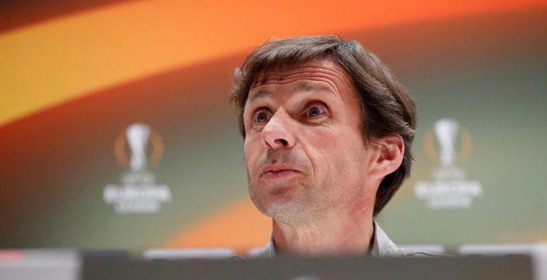 El entrenador del Athletic de Bilbao, José Ángel Ziganda, durante la rueda de prensa celebrada en la víspera de su partido de Liga Europa contra el Olympique de Marsella, en Marsella, sur de Francia, hoy, 7 de marzo de 2018