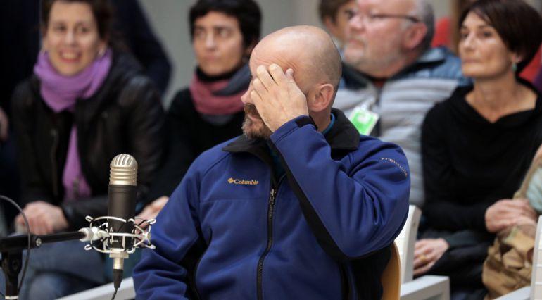 El etarra Sergio Polo (c), presunto asesino del comandante del Ejército Luciano Cortizo Alonso en León, durante el juicio celebrado esta mañana en la Audiencia Nacional.