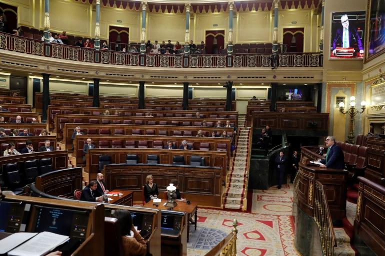 Aspecto del hemiciclo del Congreso en el debate de la Reforma del Estatuto de Cantabria