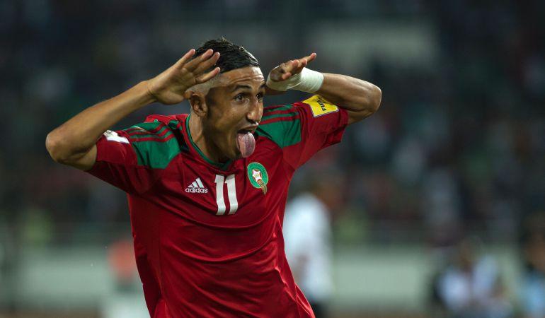 Fajr Faycal celebra su gol a Mali el pasado mes de septiembre en el Complejo Deportivo Príncipe Moualy Abdellah durante la fase de clasificación para el Mundial.