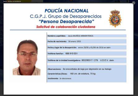 Ficha policial de la desaparición de Jesús Muñoz Armenteros.
