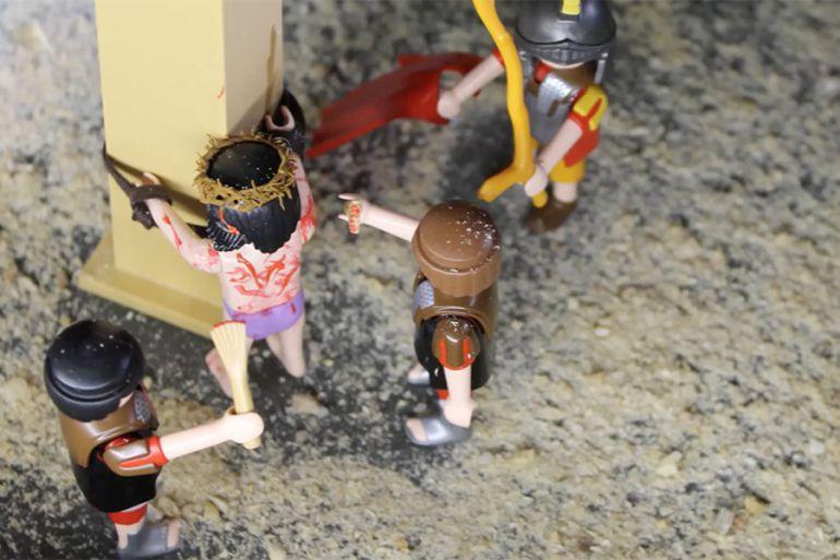 La representación de El Paso de Riogordo recrado con las figuras de Playmobil