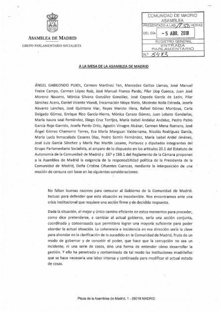 Moción de censura del PSOE en la Asamblea de Madrid.
