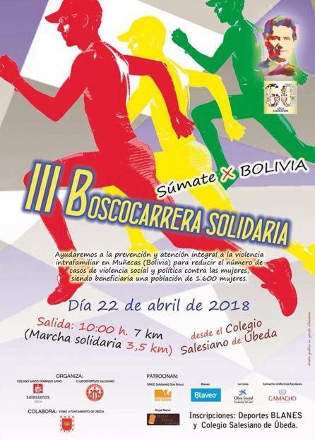 Cartel de la III Boscocarrera Solidaria que se celebrará en Úbeda el 22 de abril