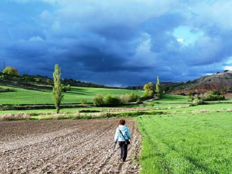 Una mujer pasea por una de las tierras del alfoz raudense.