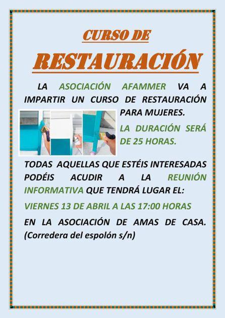Cartel sobre la reunión del curso de Restauración.