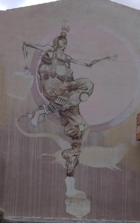 Artes plásticas Petrer: Feo Flip, arte urbano en el muro de la antigua Explanada de Petrer