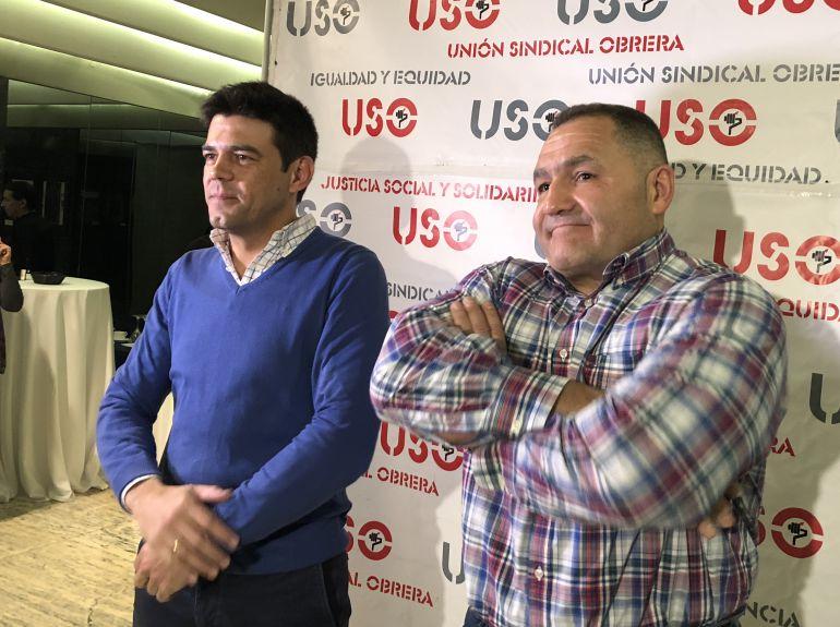 Joaquín Pérez y Marco Antonio Martínez, secretarios general y autonómico de USO, durante su comparecencia en León