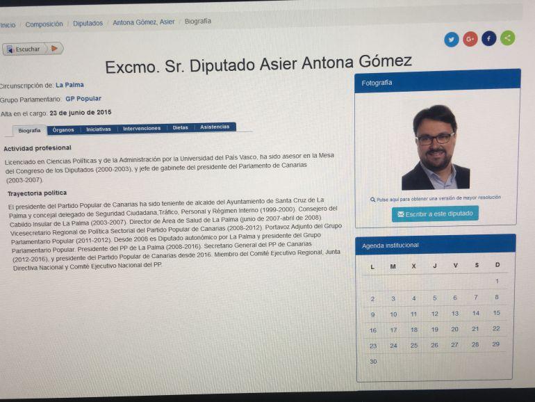 Perfil personal de Asier Antona en la página web del Parlamento de Canarias.