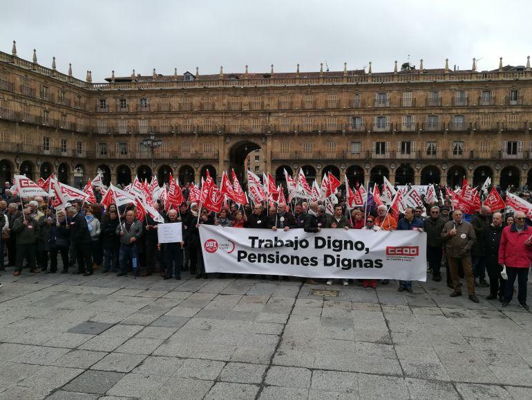 Imagen de la manifestación, en la Plaza Mayor de Salamanca.