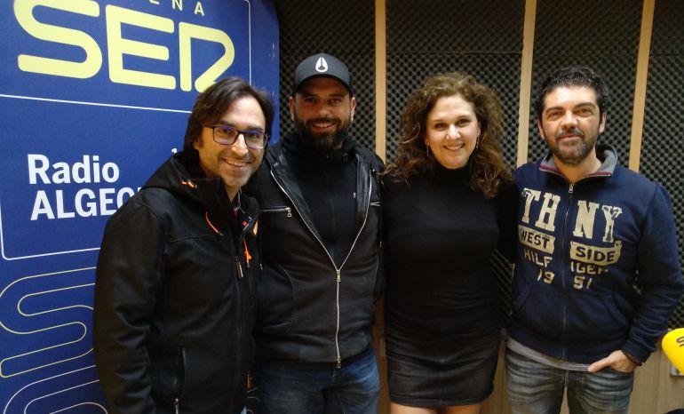 Ramón Sánchez, Alexis Morante, Mónica Bellido y José Carlos Gómez en los estudios de Radio Algeciras.