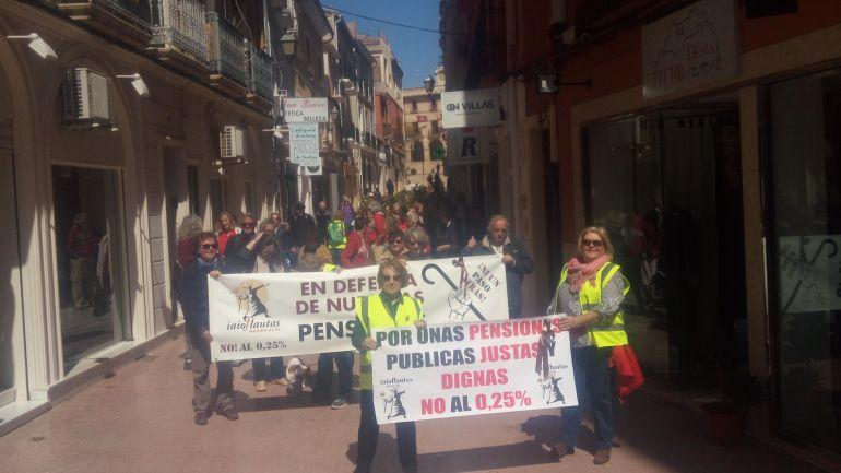 Momento de la manifestación de los 'iai@ flautas' en Dénia.