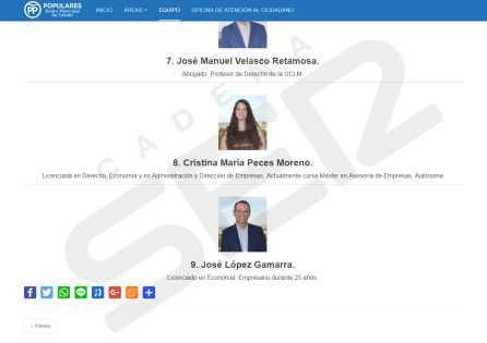 El PP de Toledo elimina de su web el currículum de sus concejales