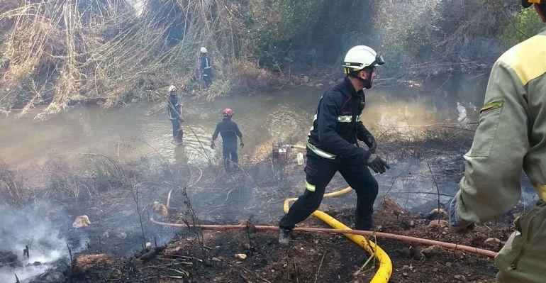 Imagen de varios bomberos trabajandon en el incendio
