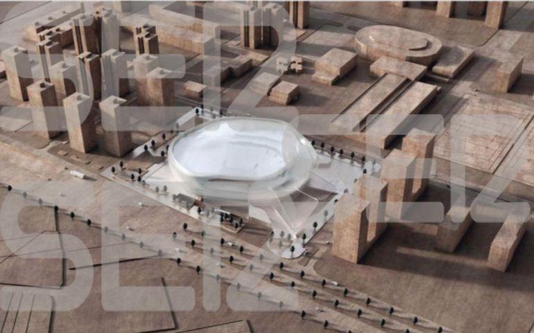 Imagen del proyecto de nuevo pabellón construido por Juan Roig, entre el Boulevard Sur y L'Alqueria del Basket anexa a la Fonteta.