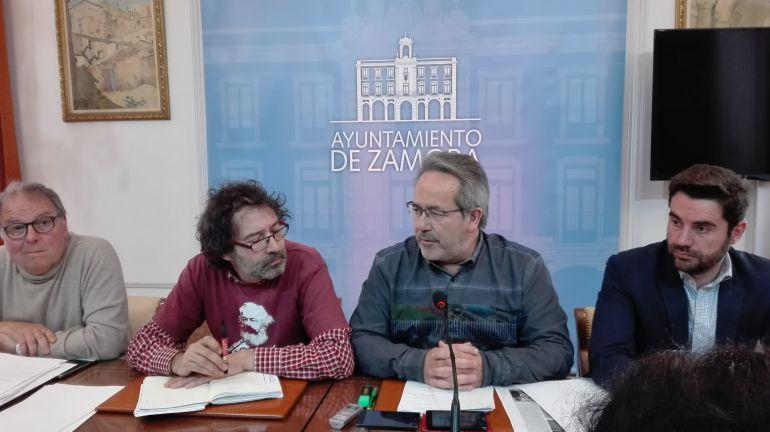 Christoph Strieder, Miguel Ángel Viñas, Francisco Guarido y Antidio Fagúndez en la rueda de prensa posterioir a la Junta Local de Gobierno