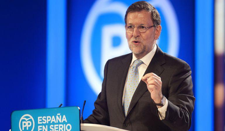 Mariano Rajoy durante un mitin del PP