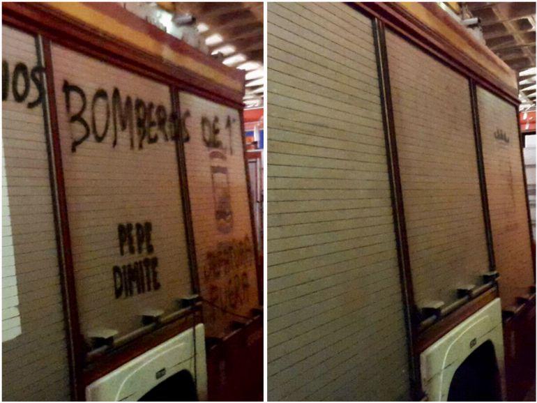 Antes y después de las pintadas en uno de los camiones de bomberos de Málaga