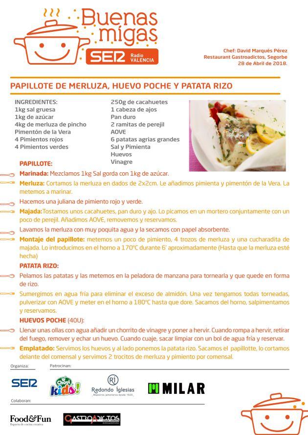Papillote de merluza, huevo poché y patata rizo