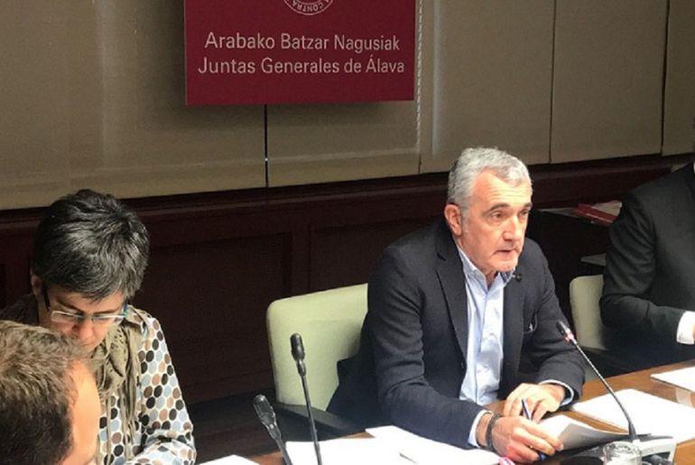 El diputado foral de Agricultura, Eduardo Aginaco, durante una comparecencia en las Juntas Generales de Álava