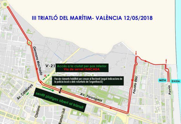Planificación de cortes de tráfico por la celebración del Triatlón de Valencia