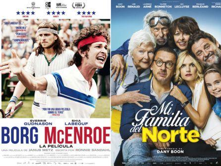 "Carteles de ""Borg vs McEnroe"" y ""Mi familia del norte"""