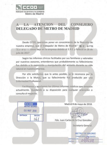 Escrito de Comisiones Obreras a la dirección de Metro de Madrid para que reconoza el caso como Enfermedad Profesional.