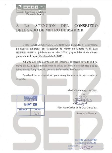 Escrito de Comisiones Obreras a la dirección de Metro de Madrid para que reconozca el caso como Enfermedad Profesional.