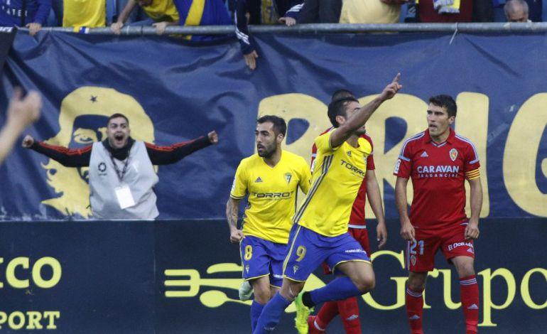 Barral celebra el gol ante el Zaragoza