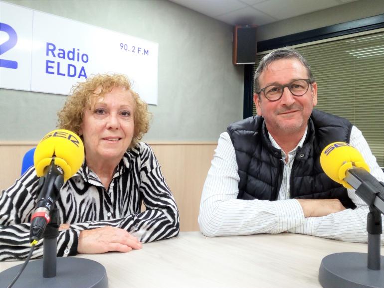Paco Gadea y Mª Primitiva, alcaldes de fiestas, en Radio Elda