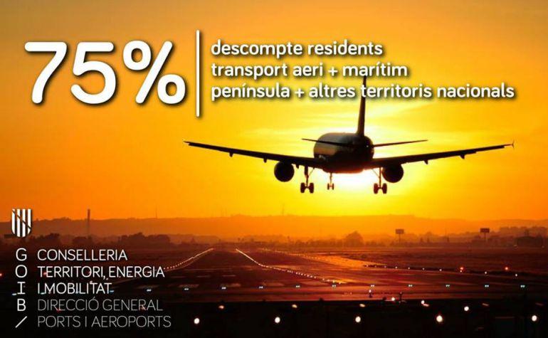 El Govern confirma de forma oficial la llegada del 75% de descuento con los vuelos a la Península