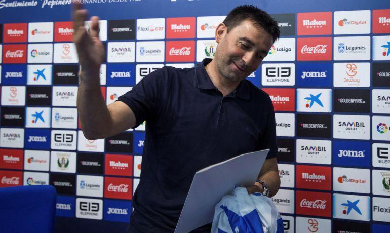 Garitano en su despedida del Leganés