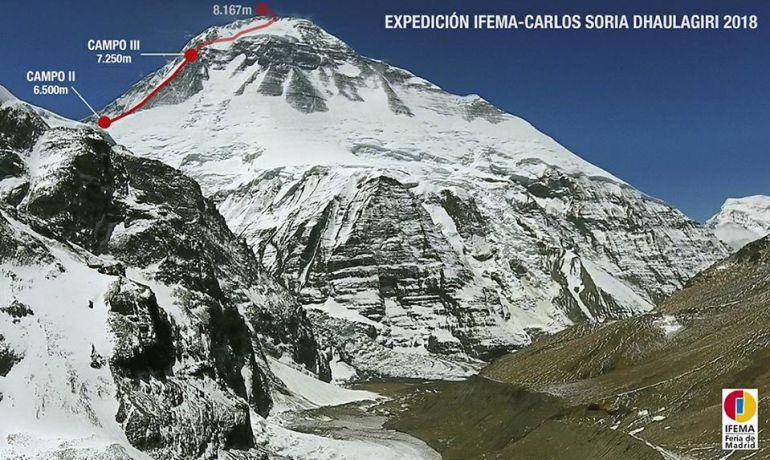 El fuerte viento reinante en la cumbre ha truncado el intento de cima