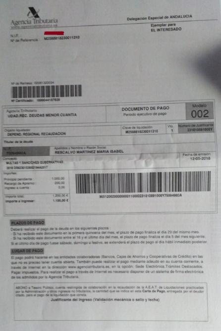 Documento por el que se exige el pago de la sanción impuesta a la portavoz, Maribel Rescalvo y para la que ahora se solicita la colaboración ciudadana.