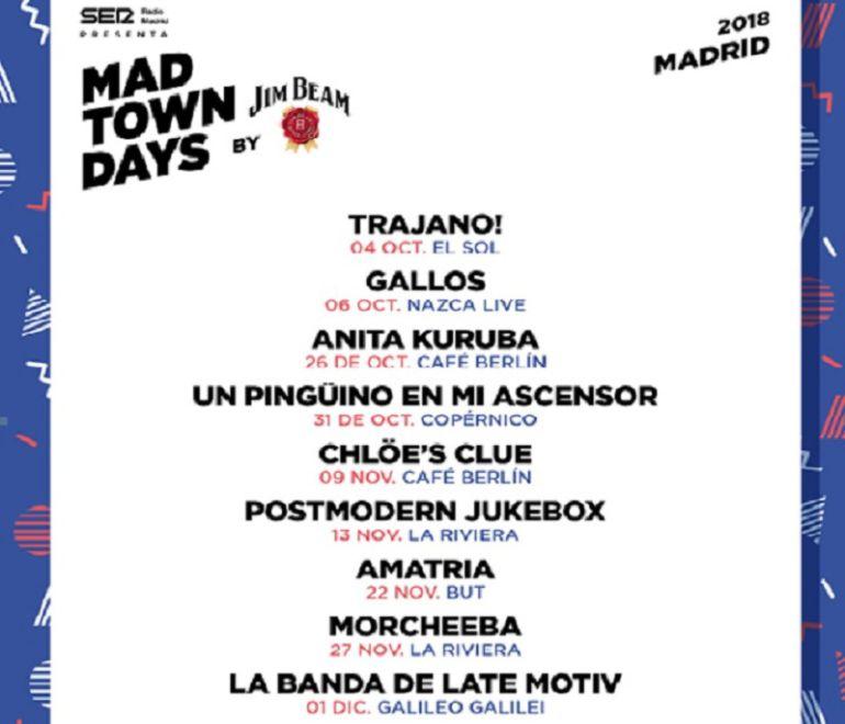 Los grupos que estarán en octubre en el Mad Town Days by Jim Beam