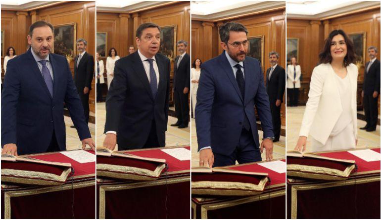 Los nuevos ministros José Luis Ábalos (Fomento), Luis Planas (Agricultura), Màxim Huerta (Cultura) y Carmen Montón (Sanidad) prometen sus cargos