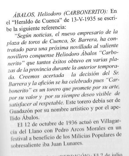 """Recorte de la """"Historia de la tauromaquia conquense"""", de Heliodoro Cordente, en la que se cita al padre del nuevo ministro"""