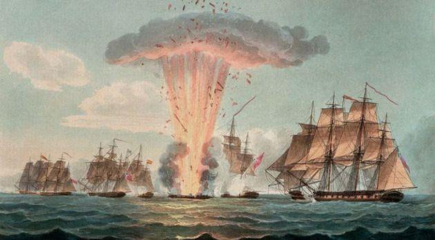 Momento del hundimiento de la fragata Mercedes en 1804.