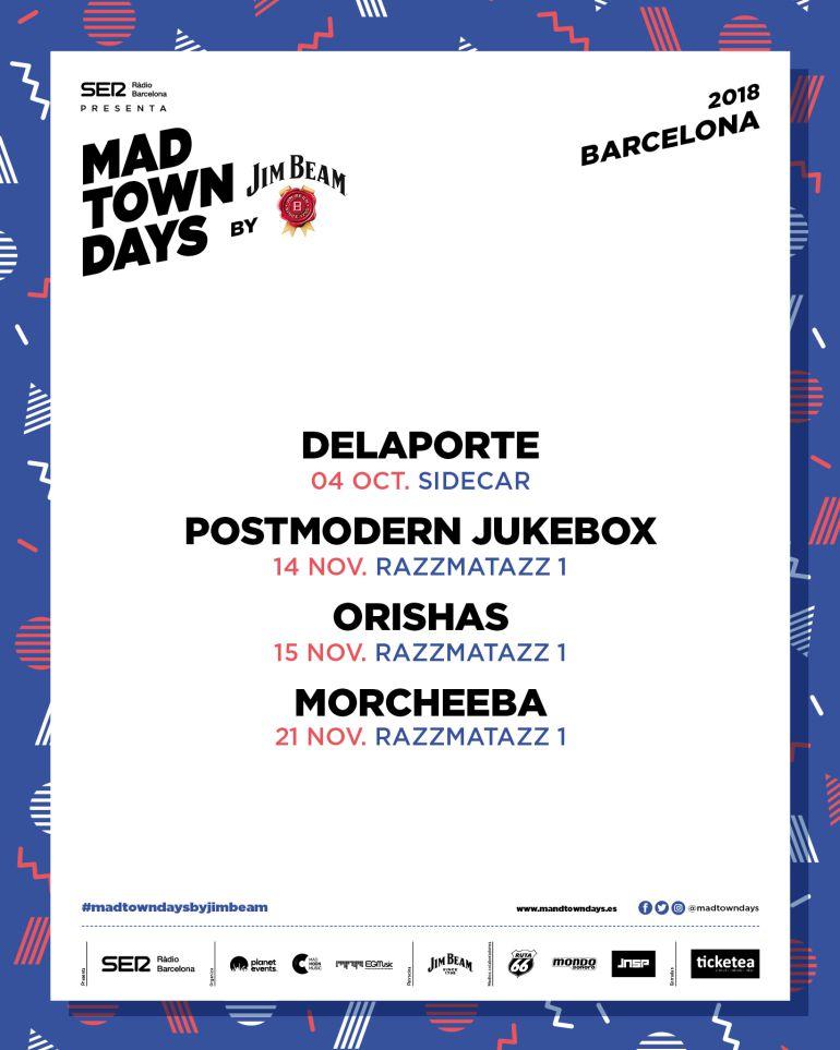 El cartell dels quatre concerts a Barcelona, als propers mesos d'octubre i novembre