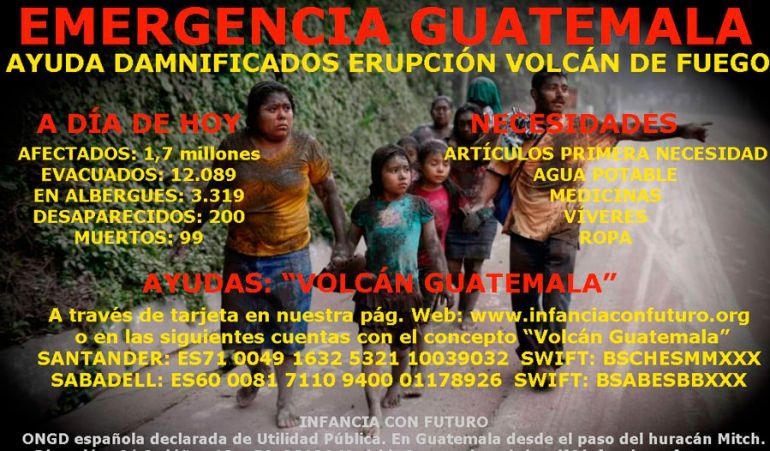 La ong tiene voluntarios en Guatelama atendiendo en dos albergues a los damnificados por el volcán