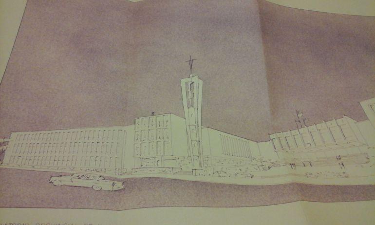 """Proyecto de la """"Casa de Cultura"""" propuesto por el arquitecto F. Moreno para el solar derivado del derribo del antiguo hospicio"""