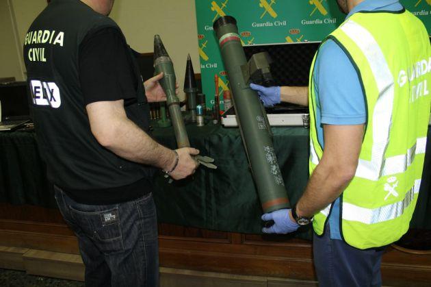 Armamento localizado en la vivienda en la 'Operación Illinois', en Garrapinillos