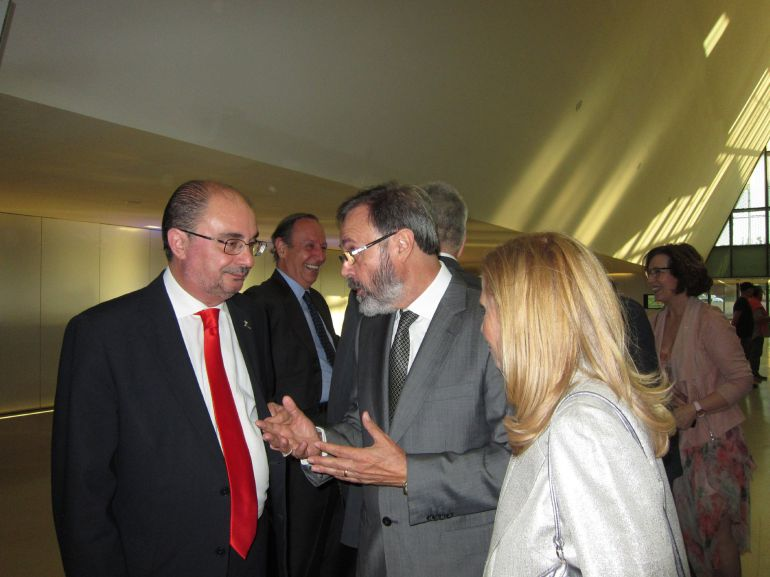 Javier Lambán junto al arquitecto Carlos Miret, en la Gala del décimo aniversario de la Expo 2008