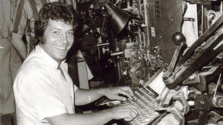 El actor Sancho Gracia en las instalaciones de 'Diario de Cuenca' en 1978.