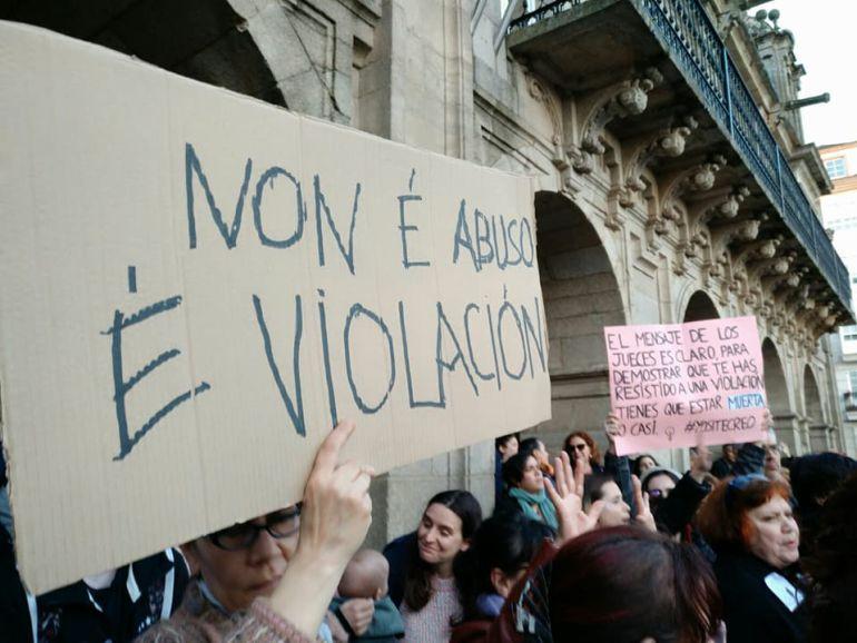 Un momento de una manifestación en Lugo contra la sentencia